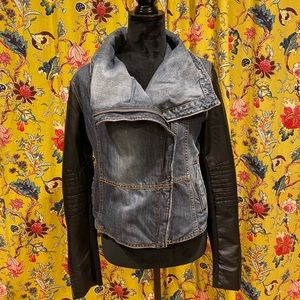 Denim and Faux Leather Moto Jacket